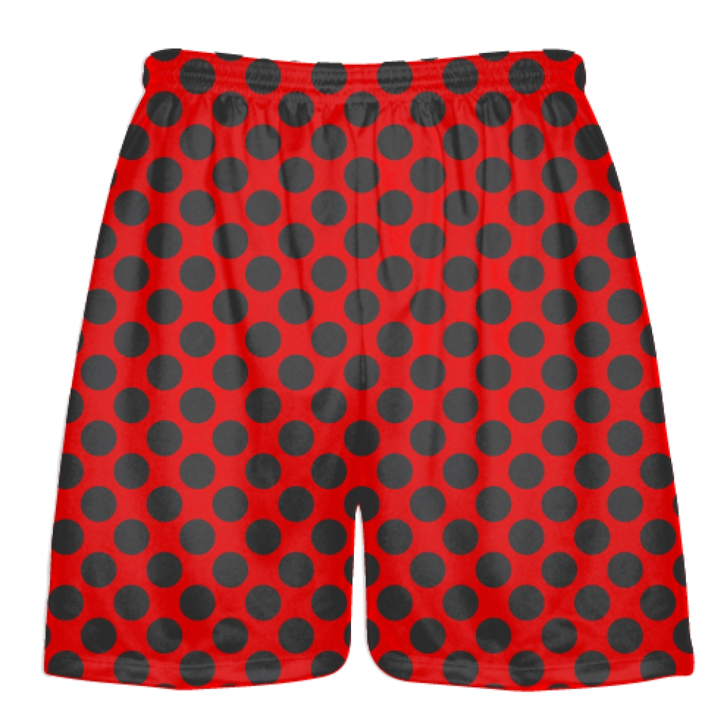 Red+Charcoal+Gray+Polka+Dot+Shorts+-+Boys+Lacrosse+Shorts+-+Mens+Lacrosse+Short