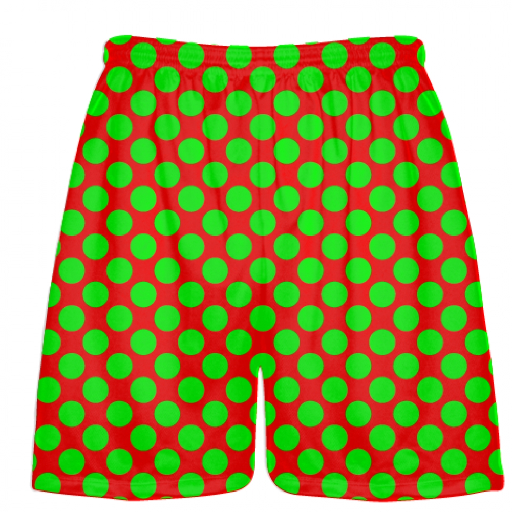 Red+Neon+Green+Polka+Dot+Shorts+-+Boys+Lacrosse+Shorts+-+Mens+Lacrosse+Short