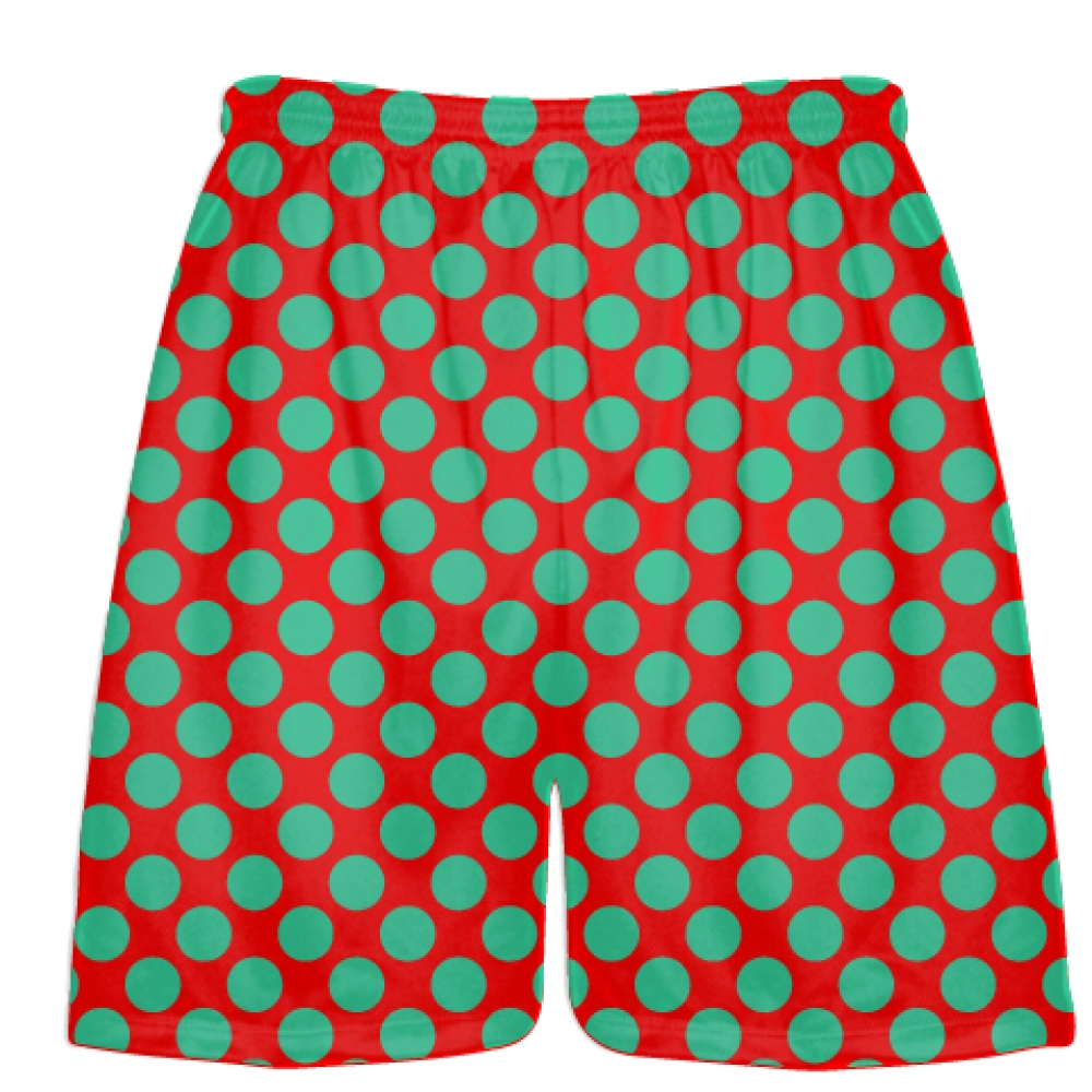 Red+Teal+Green+Polka+Dot+Shorts+-+Boys+Lacrosse+Shorts+-+Mens+Lacrosse+Short