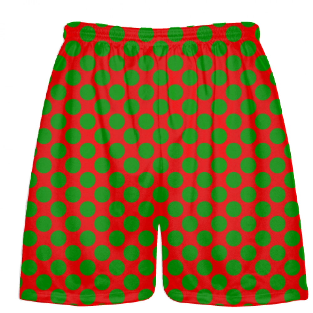 Red+Kelly+Green+Polka+Dot+Shorts+-+Boys+Lacrosse+Shorts+-+Mens+Lacrosse+Short