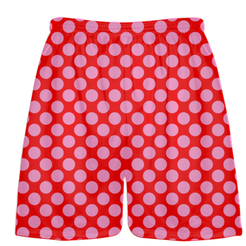 Red+Pink+Polka+Dot+Shorts+-+Boys+Lacrosse+Shorts+-+Mens+Lacrosse+Short