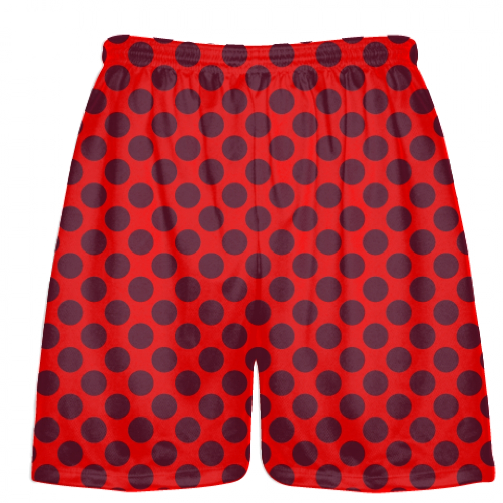 Red+Maroon+Polka+Dot+Shorts+-+Boys+Lacrosse+Shorts+-+Mens+Lacrosse+Short