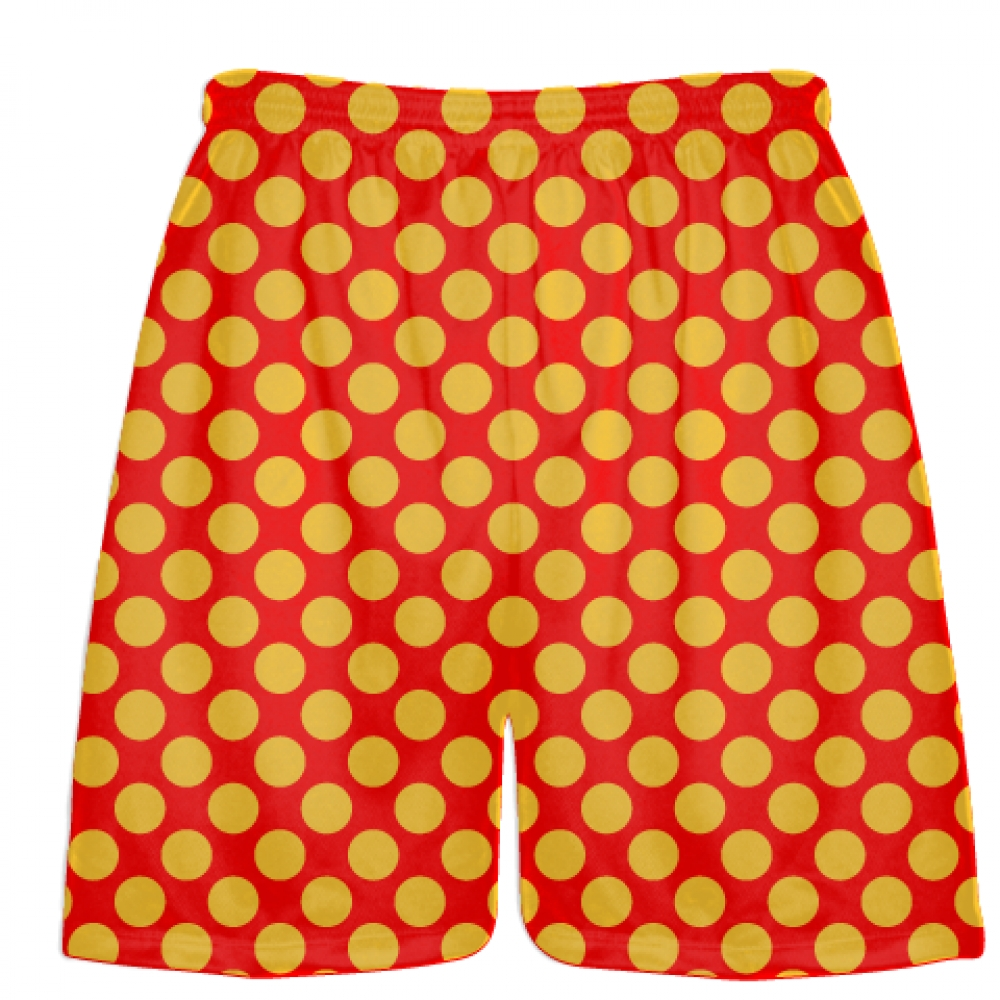 Red+Athletic+Gold+Polka+Dot+Shorts+-+Boys+Lacrosse+Shorts+-+Mens+Lacrosse+Short
