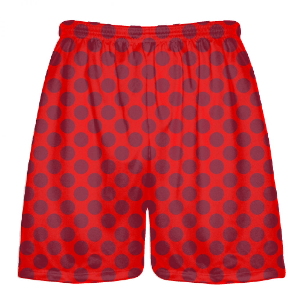 Red+Cardinal+Red+Polka+Dot+Shorts+-+Boys+Lacrosse+Shorts+-+Mens+Lacrosse+Short