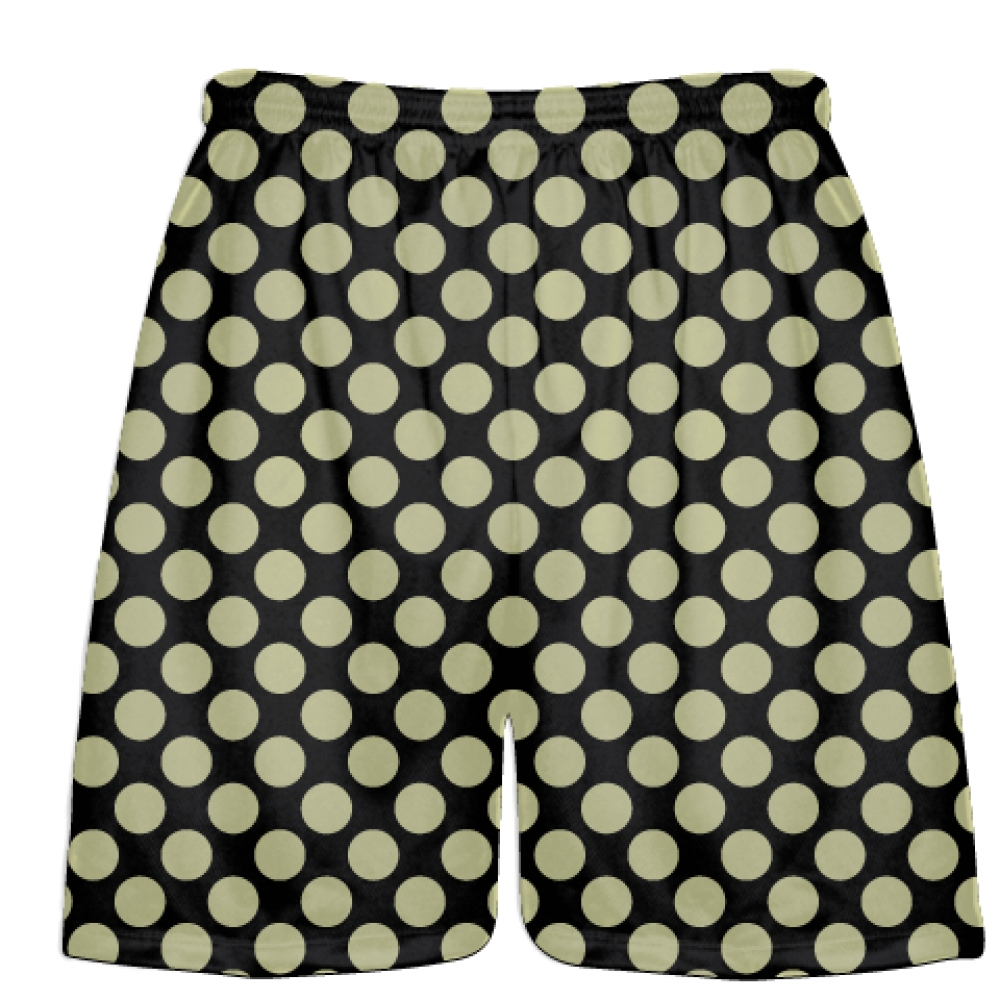 Black+Vegas+Gold+Polka+Dots+Lacrosse+Shorts+-+Boys+Lacrosse+Short+-+Mens+Shorts