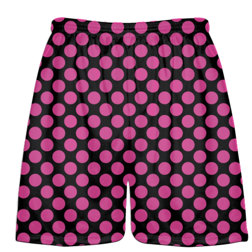Black+Hot+Pink+Polka+Dots+Lacrosse+Shorts+-+Boys+Lacrosse+Short+-+Mens+Shorts