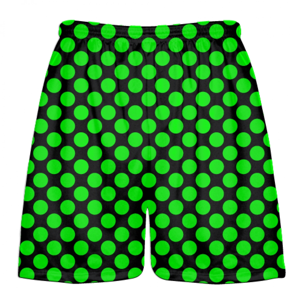Black+Neon+Green+Polka+Dots+Lacrosse+Shorts+-+Boys+Lacrosse+Short+-+Mens+Shorts