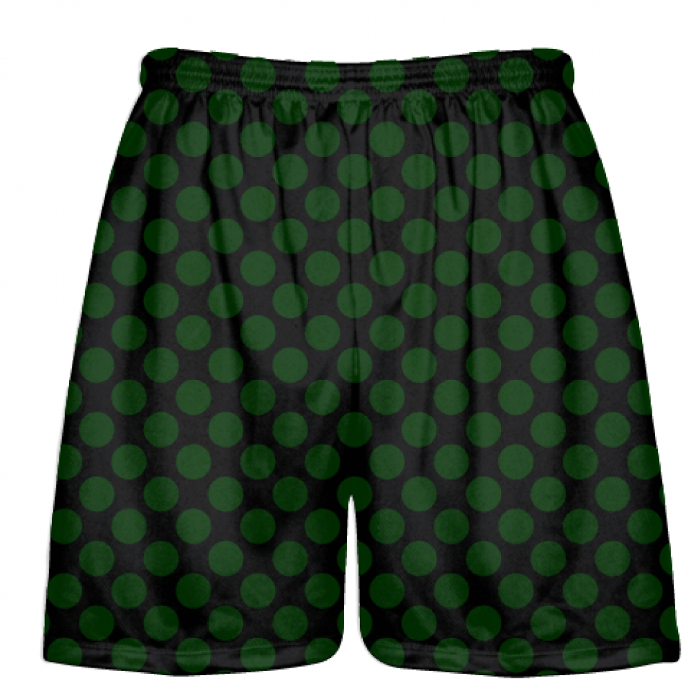 Black+Hunter+Green+Polka+Dots+Lacrosse+Shorts+-+Boys+Lacrosse+Short+-+Mens+Shorts