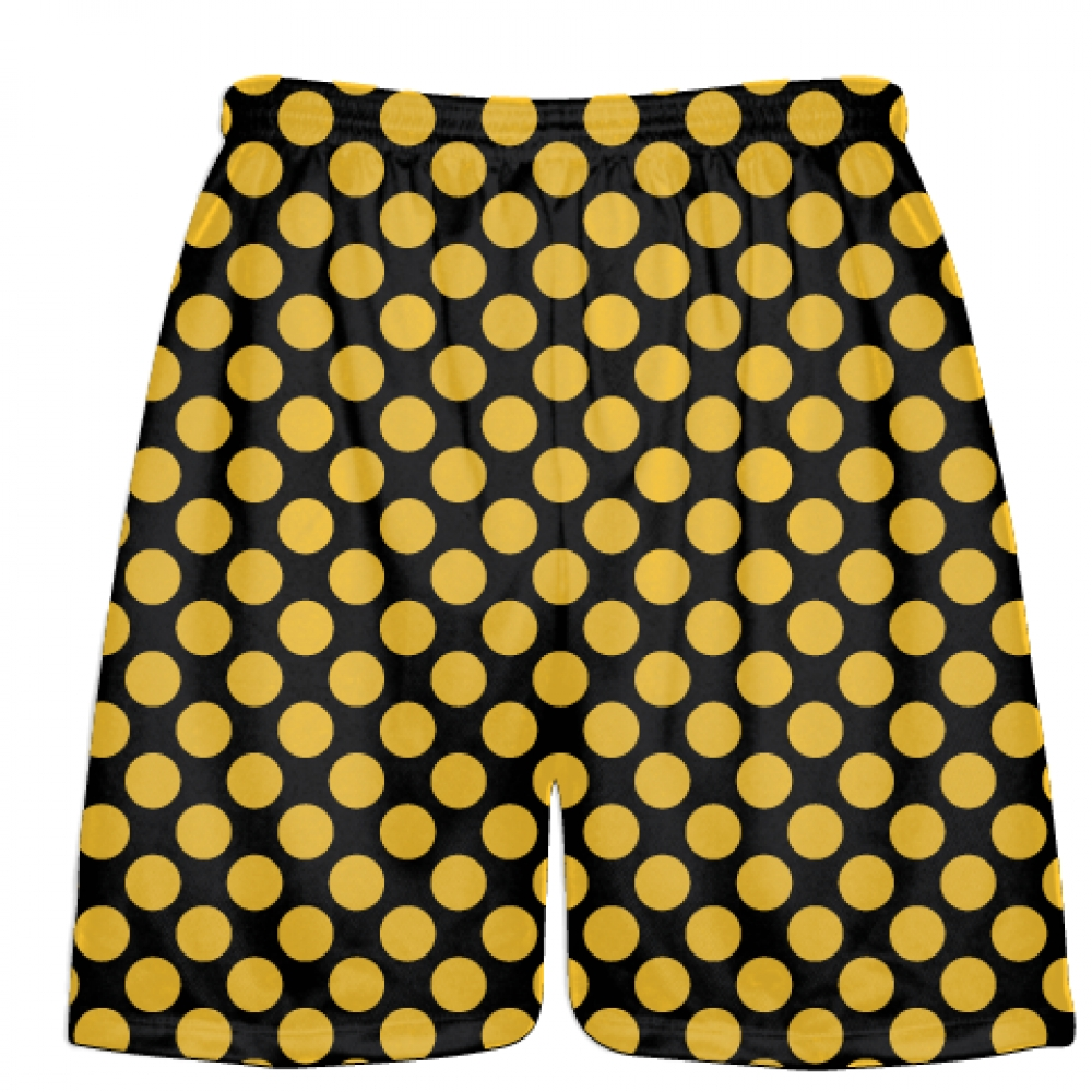 Black+Athletic+Gold+Polka+Dots+Lacrosse+Shorts+-+Boys+Lacrosse+Short+-+Mens+Shorts