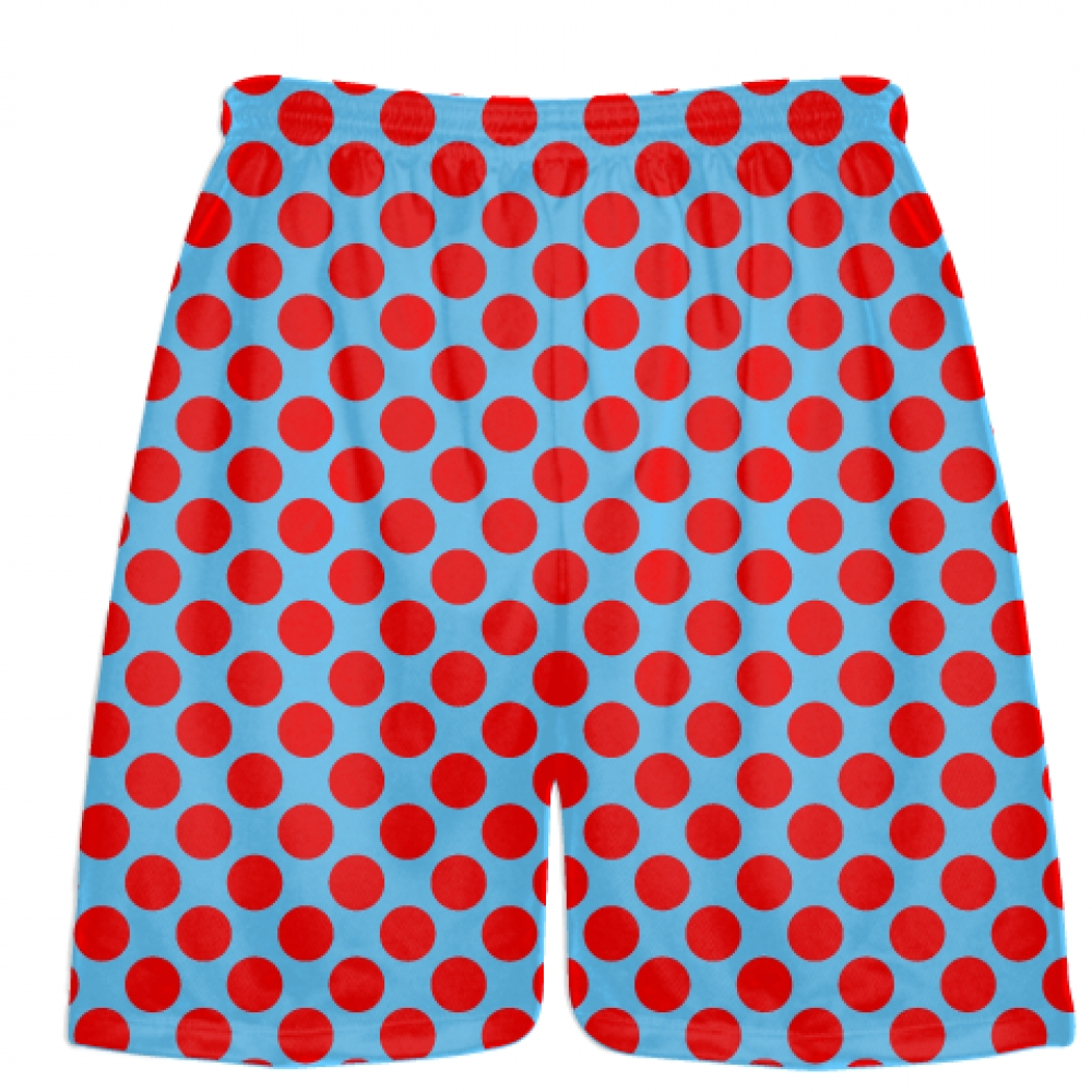 Powder+Blue+Red+Polka+Dotted+Shorts+-+Polka+Dot+Shorts+-+Adult+Youth+Shorts