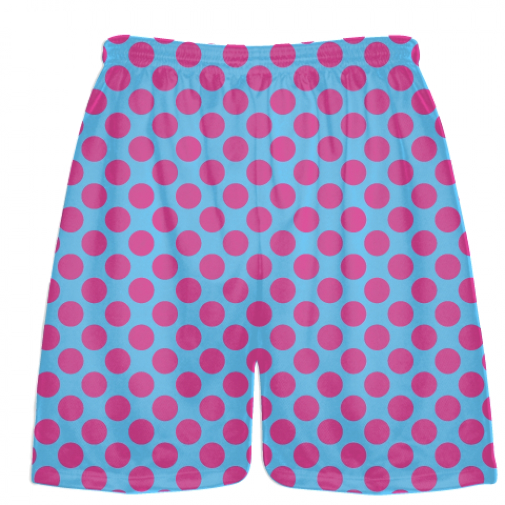Powder+Blue+Hot+Pink+Polka+Dotted+Shorts+-+Polka+Dot+Shorts+-+Adult+Youth+Shorts