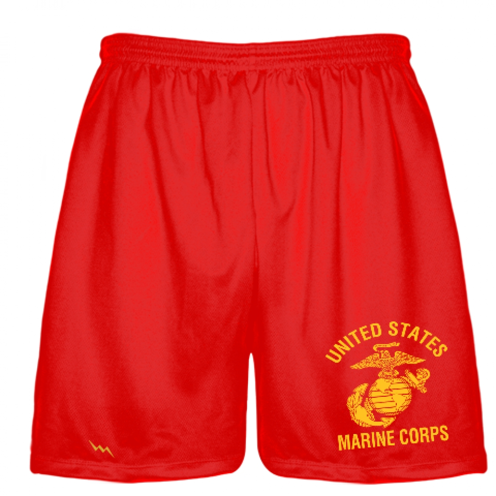 Red+Marine+Shorts+-+Athletic+Shorts+Red+Marine+Logo+-+Boys+Mens+Shorts