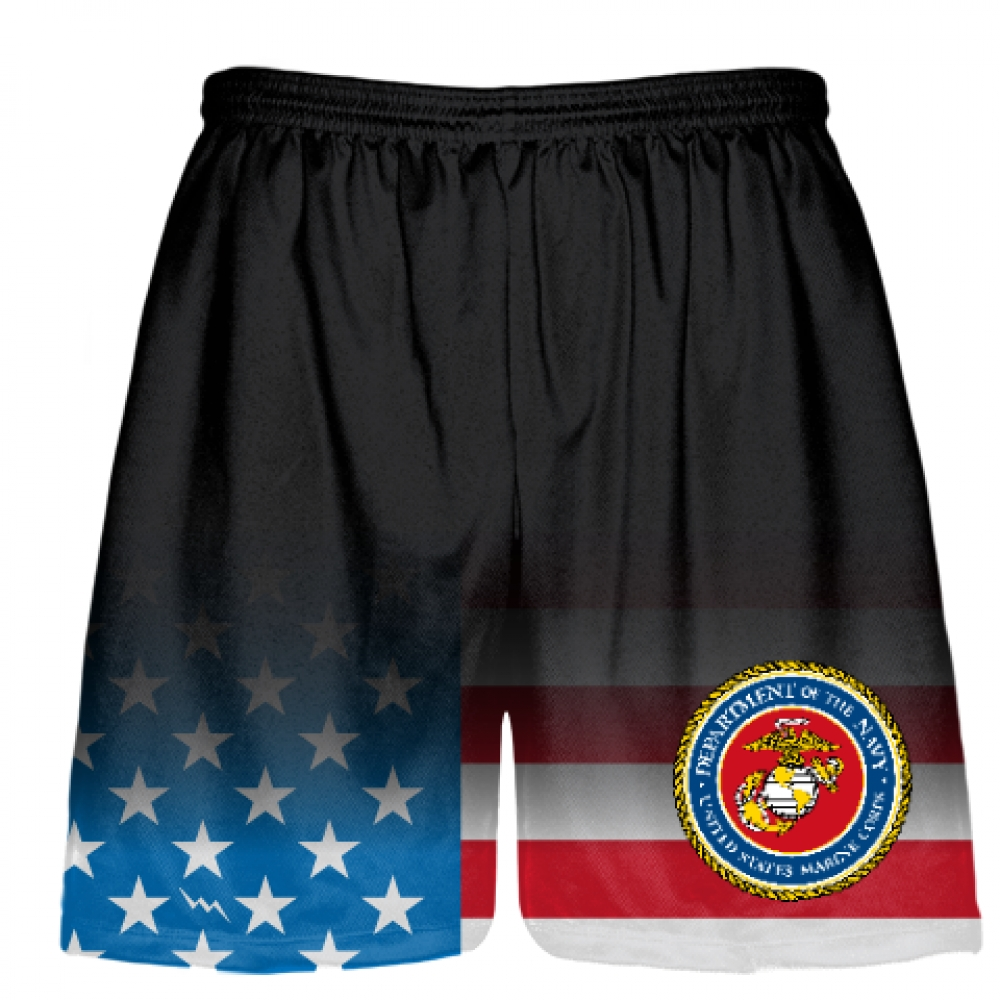Black+Fade+USA+FLAG+Marine+Corp+Shorts+Full+Color+Logo