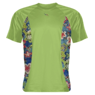Lime Green Shooting Shirts Floral Sides Green