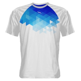 Abstract White Blue Shooting Shirts
