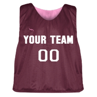 Maroon and Pink Lacrosse Pinnie