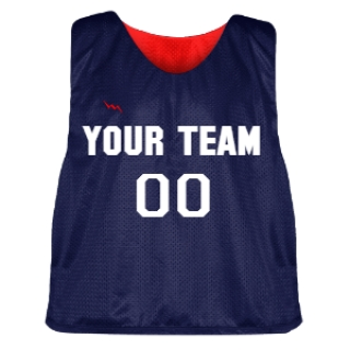 Navy Blue and Red Lacrosse Pinnie