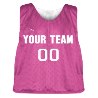 Hot Pink and White Lacrosse Pinnie