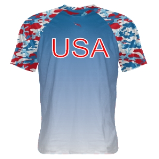 Digital Camouflage Shooter Shirt - Red White Blue