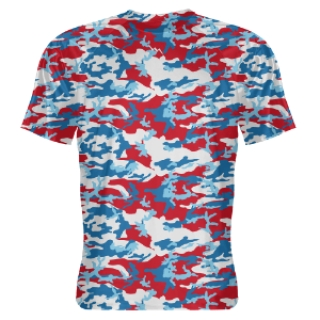 Red White and Blue Digital Camo Shooter Shirts