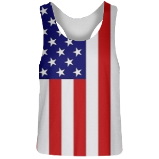 Girls American Flag Racerback Pinnies