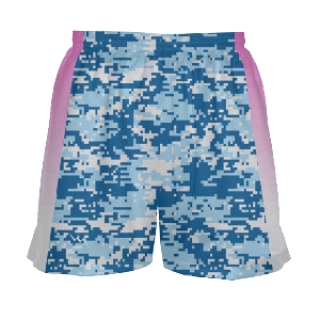 Girls Blue Digital Camo Pink Side Lacrosse Shorts