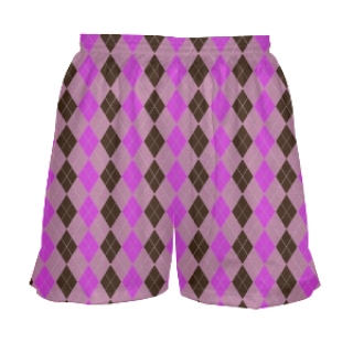 Girls Lacrosse Shorts - Pink Argyle