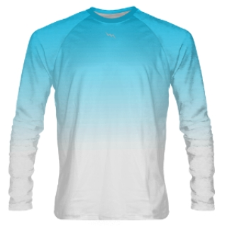 Powder Blue to White Fade Long Sleeve Shooter Shirts
