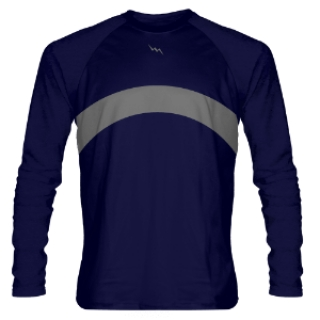 Navy Blue and Gray Long Sleeve Shooter Shirts