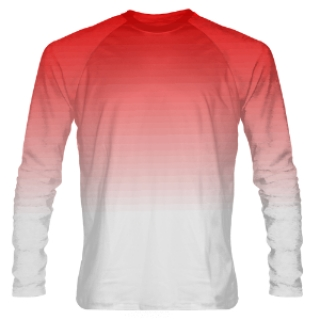 Red to White Fade Long Sleeve Shooter Shirts