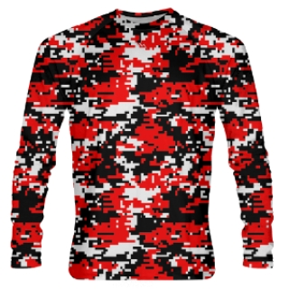 Red Digital Camouflage Long Sleeve Shirts