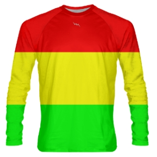 Reggae Flag Long Sleeve Shooter Shirts
