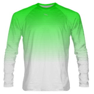 Neon Green to White Fade Long Sleeve Shooter Shirts