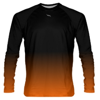 Black to Orange Fade Long Sleeve Shooter Shirts