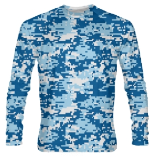 Blue Digital Camouflage Long Sleeve Shooter Shirts