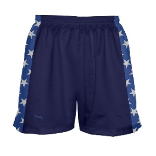 Girls Navy Blue and Stars Lacrosse Shorts