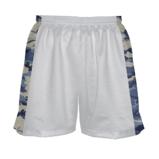 Womens White and Camouflage Blue Lax Shorts