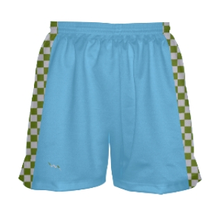 Womens Lightning Blue and Green Checker Board Shorts