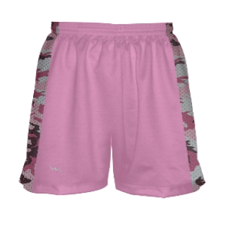 Girls Pink With Pink Camouflage Side Lacrosse Shorts