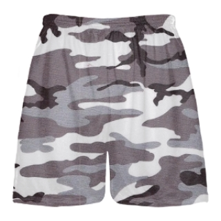 Gray Camouflage Lacrosse Shorts