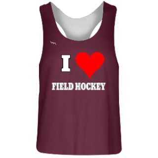 Maroon and White Field Hockey Racerback Pinnie
