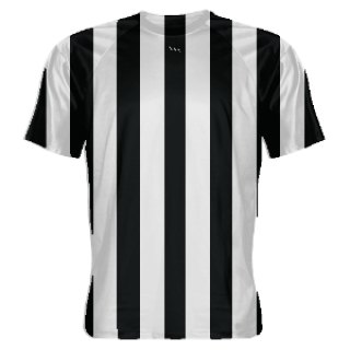 Black and White Striped Soccer Jerseys