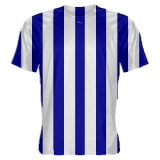 Royal Blue and White Striped Soccer Jerseys