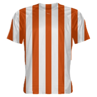 Orange and White Striped Soccer Jerseys