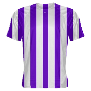 Purple and White Striped Soccer Jerseys
