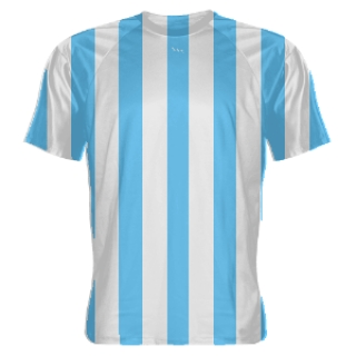 Light Blue and White Striped Soccer Jerseys
