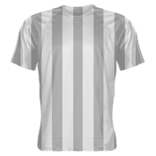 Gray and White Striped Soccer Jerseys