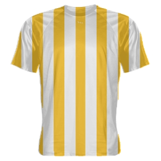 Gold and White Striped Soccer Jerseys