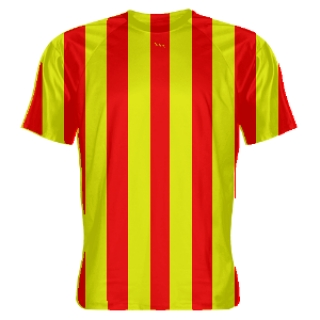 Red and Yellow Striped Soccer Uniforms