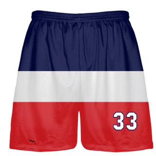 Blue White and Red Stripe Shorts